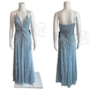 NWT BEBE Ice Blue Knot Front Beaded Sequin Dress